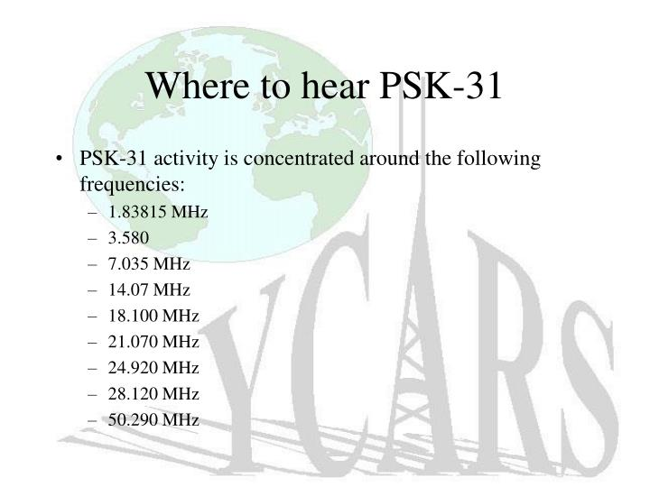 Where to hear PSK-31