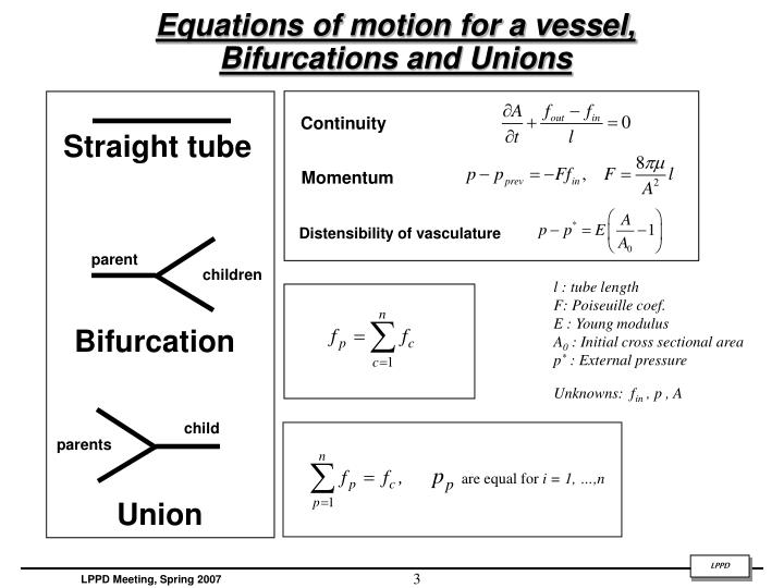 Equations of motion for a vessel bifurcations and unions