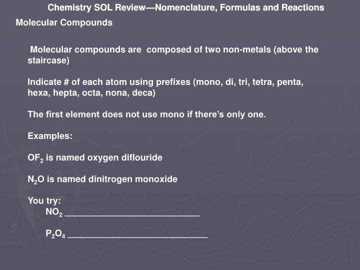 Chemistry SOL Review—Nomenclature, Formulas and Reactions