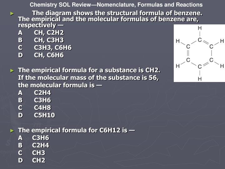 The diagram shows the structural formula of benzene. The empirical and the molecular formulas of benzene are, respectively —