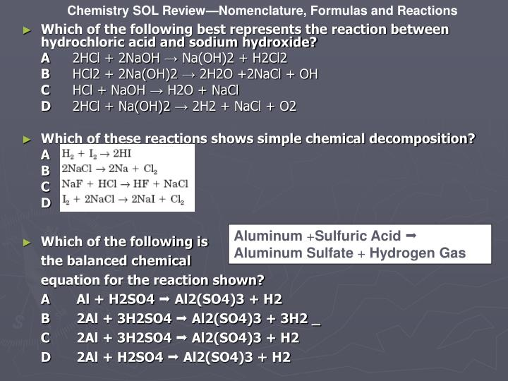 Which of the following best represents the reaction between hydrochloric acid and sodium hydroxide?
