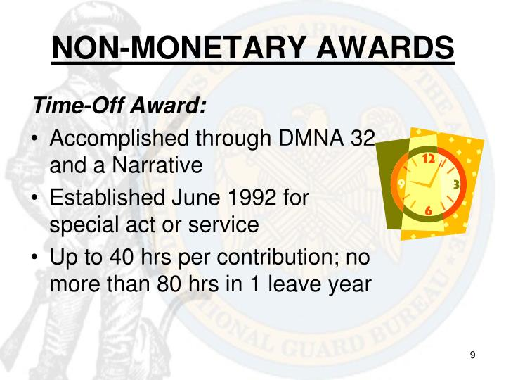 NON-MONETARY AWARDS