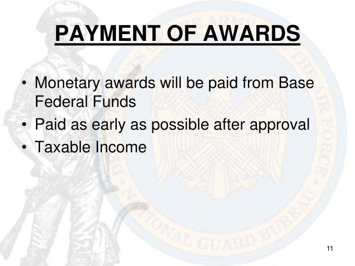 PAYMENT OF AWARDS