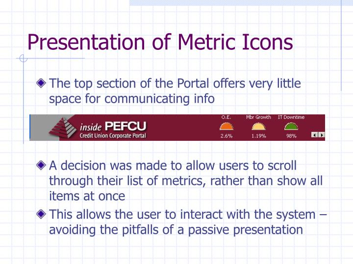 Presentation of Metric Icons