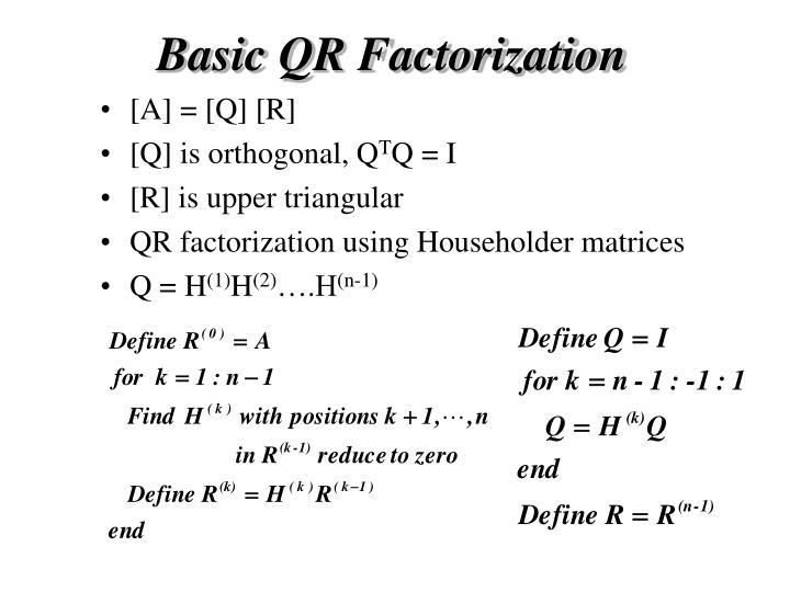 Basic QR Factorization