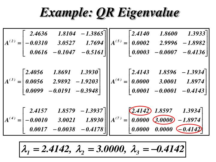 Example: QR Eigenvalue