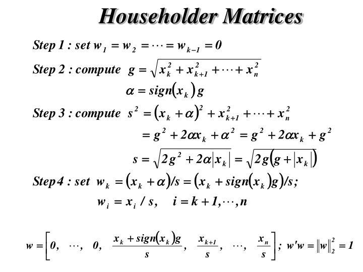 Householder Matrices