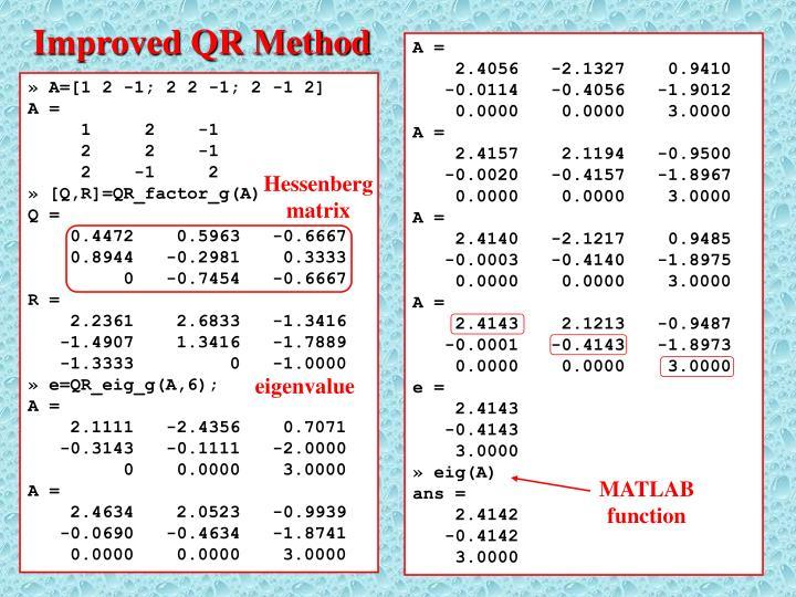 Improved QR Method