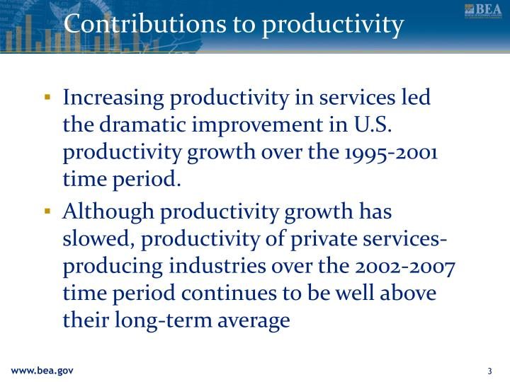Contributions to productivity