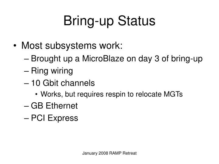 Bring-up Status