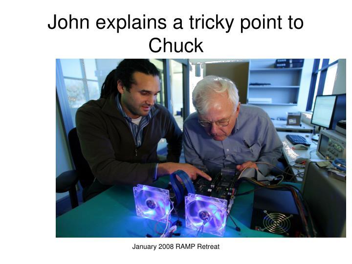 John explains a tricky point to Chuck
