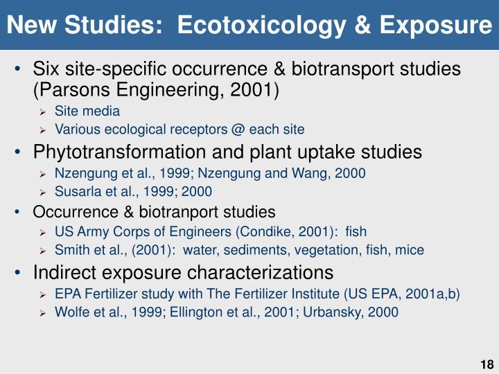 New Studies:  Ecotoxicology & Exposure