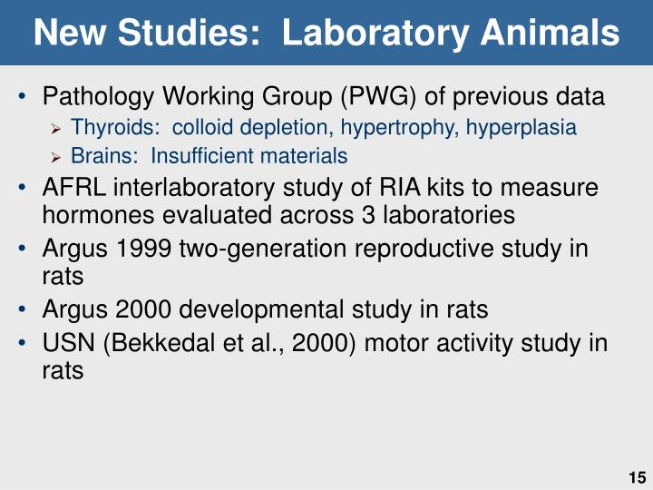 New Studies:  Laboratory Animals