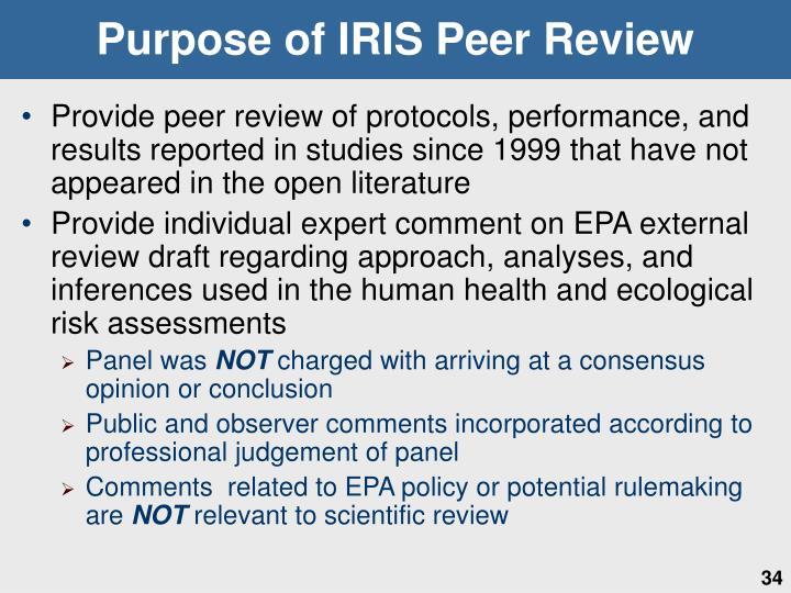Purpose of IRIS Peer Review