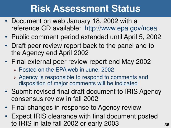 Risk Assessment Status