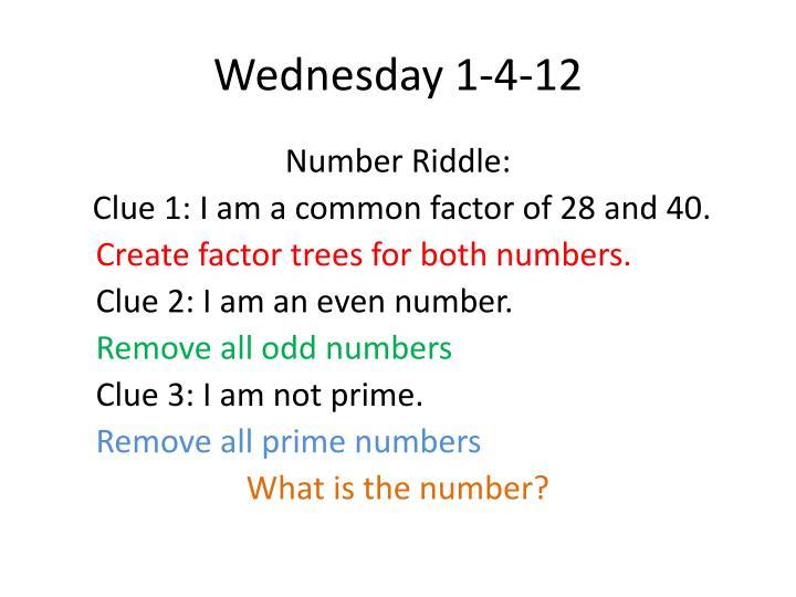 Wednesday 1-4-12