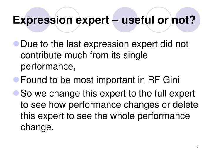 Expression expert – useful or not?
