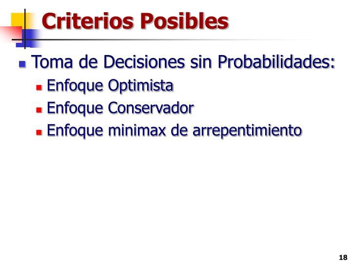 Criterios Posibles