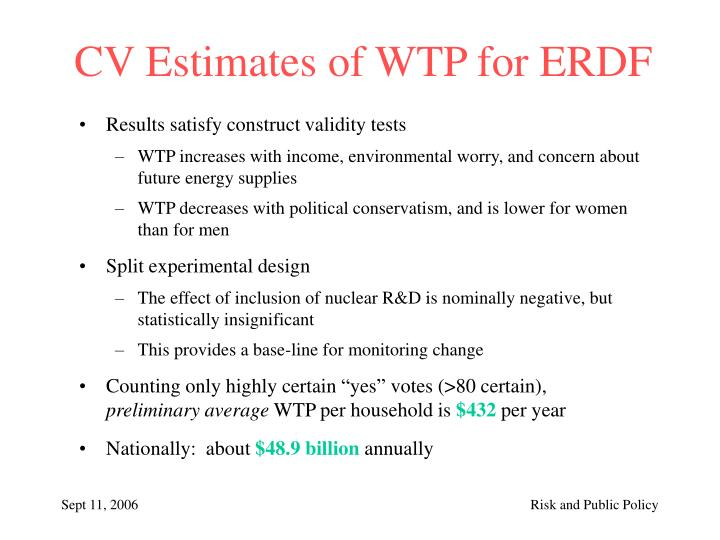 CV Estimates of WTP for ERDF
