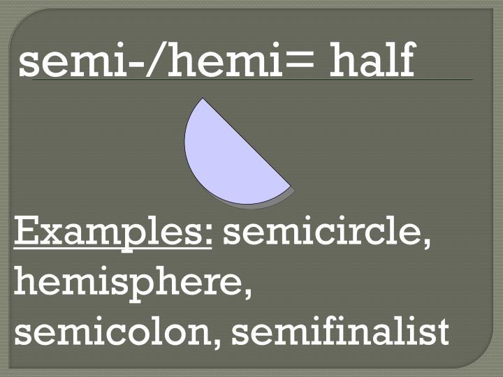 semi-/hemi= half