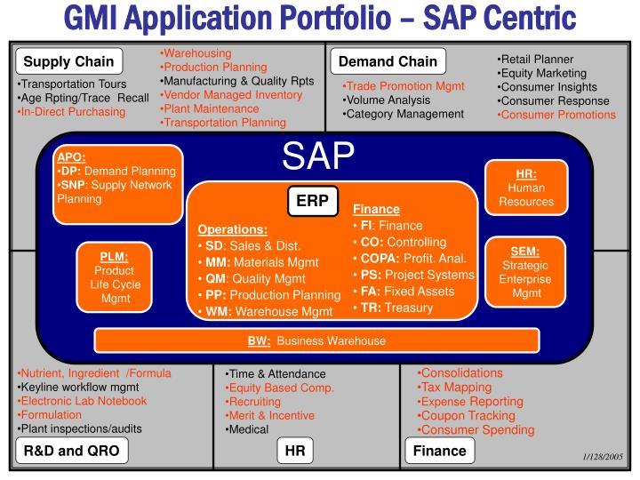 GMI Application Portfolio – SAP Centric