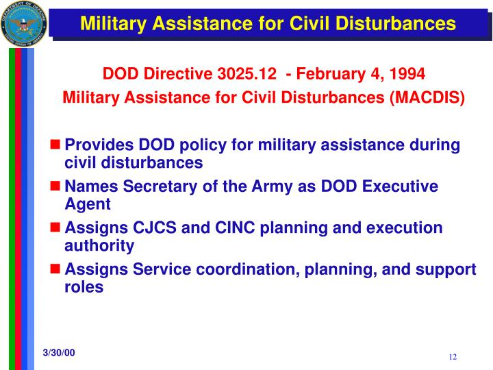 DOD Directive 3025.12  - February 4, 1994