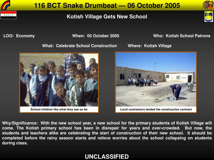 116 BCT Snake Drumbeat — 06 October 2005