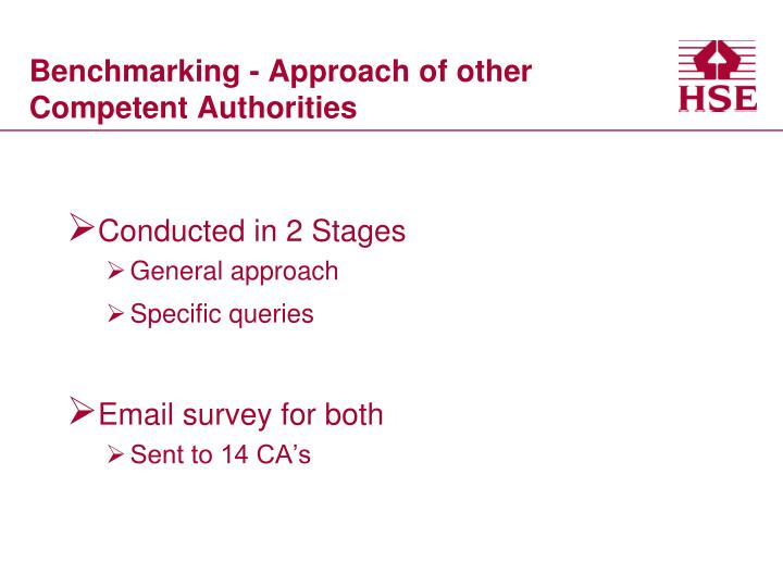 Benchmarking - Approach of other Competent Authorities