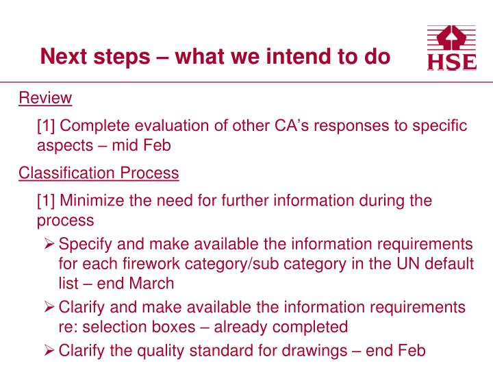 Next steps – what we intend to do