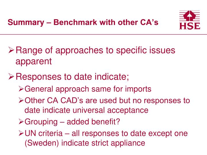 Summary – Benchmark with other CA's