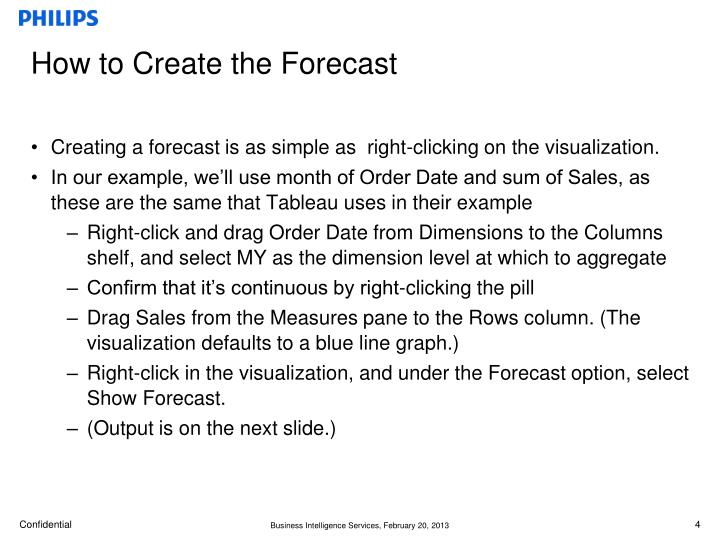 How to Create the Forecast