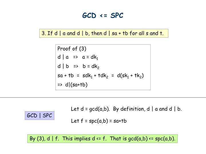 GCD <= SPC