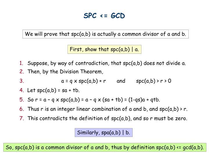 SPC <= GCD
