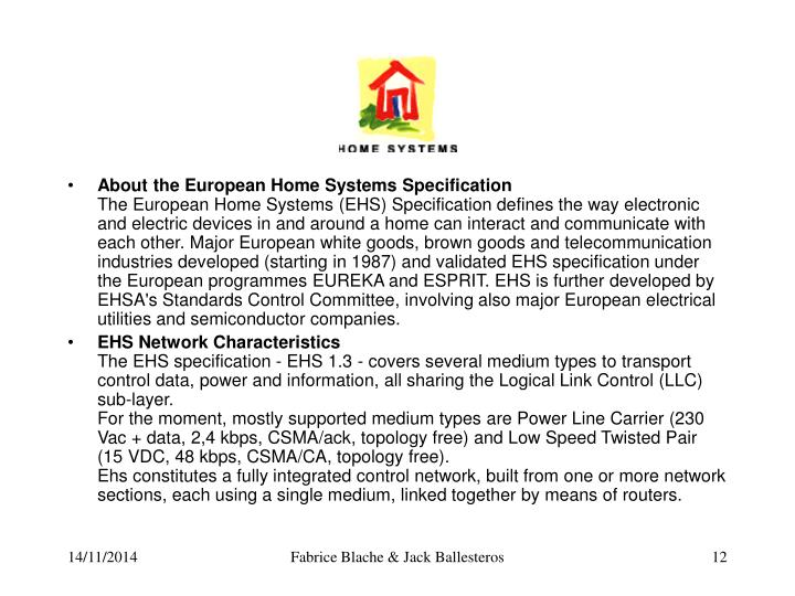 About the European Home Systems Specification