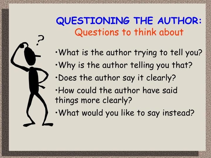 QUESTIONING THE AUTHOR: