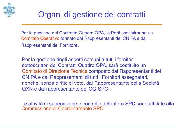Organi di gestione dei contratti