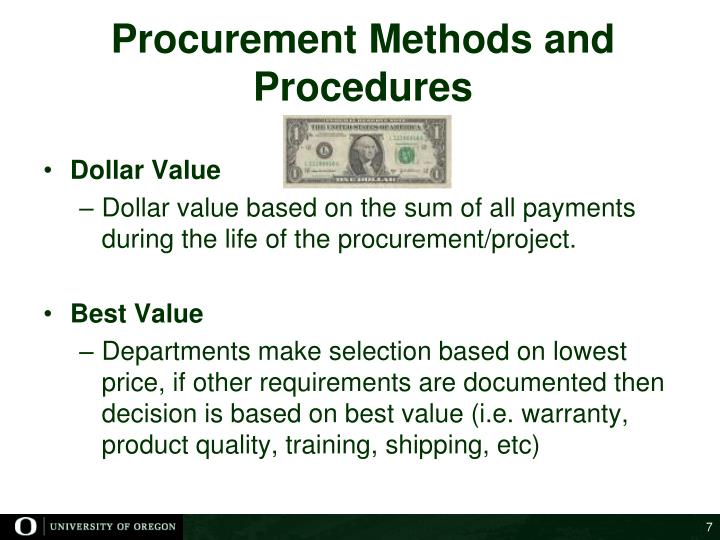 Procurement Methods and Procedures