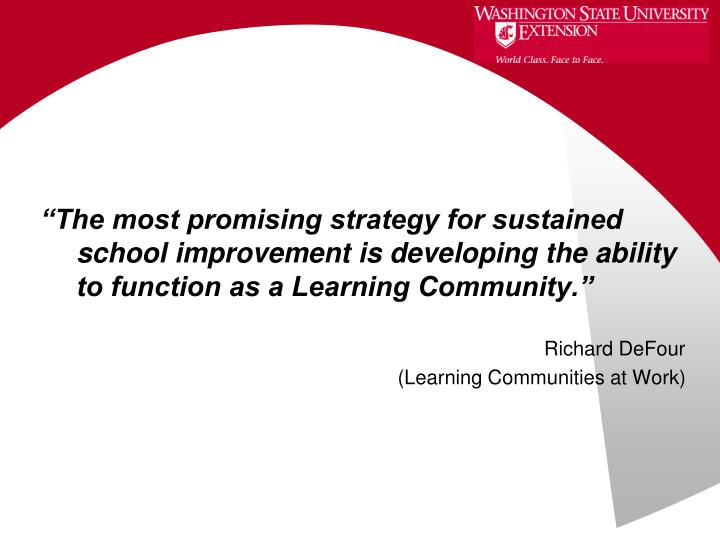"""The most promising strategy for sustained school improvement is developing the ability to function as a Learning Community."""