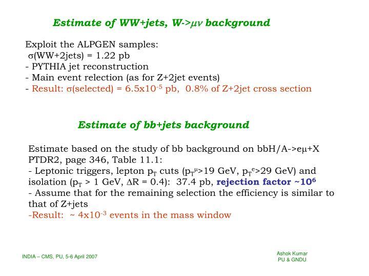 Estimate of WW+jets, W->