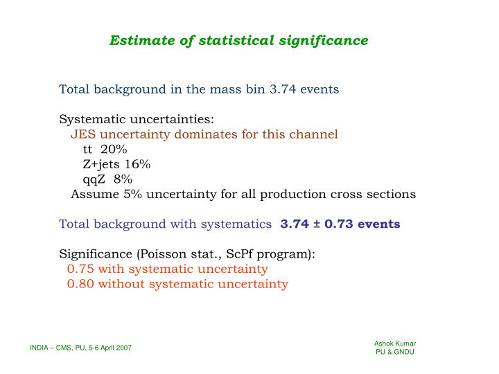 Estimate of statistical significance