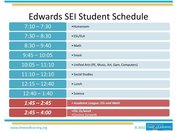 Edwards SEI Student Schedule