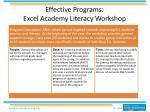 effective programs excel academy literacy workshop