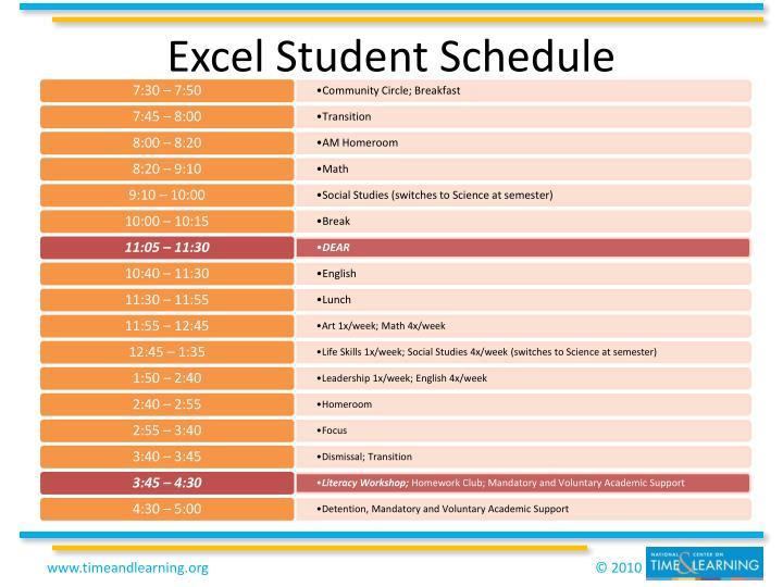 Excel Student Schedule