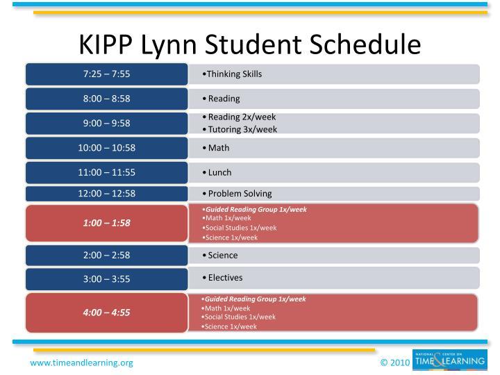 KIPP Lynn Student Schedule