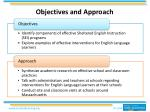 objectives and approach