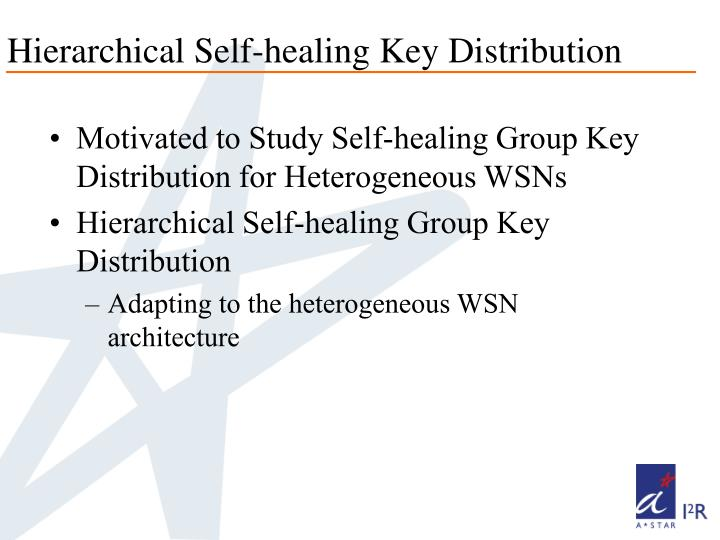 Hierarchical Self-healing Key Distribution