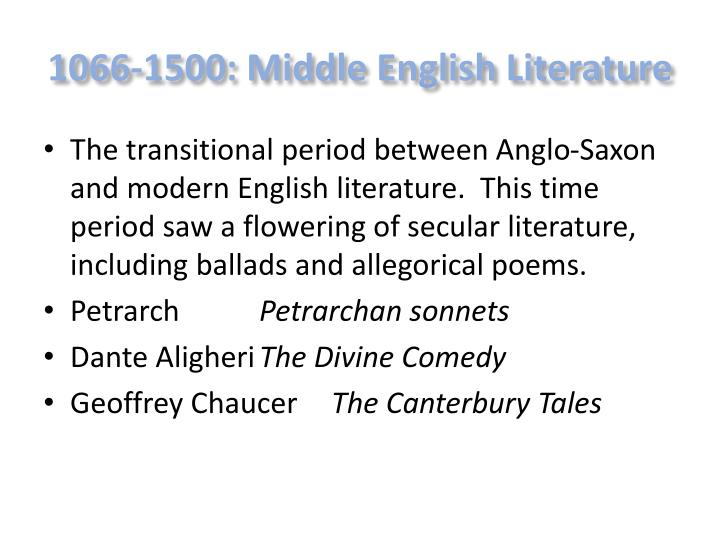 1066-1500: Middle English Literature