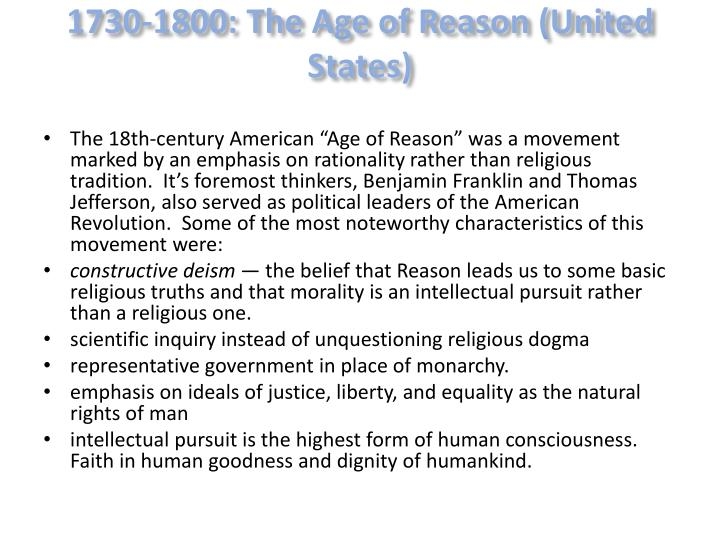 1730-1800: The Age of Reason (United States)