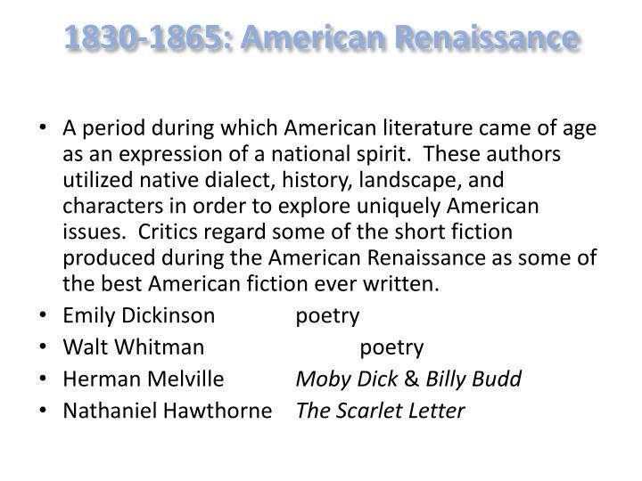 1830-1865: American Renaissance