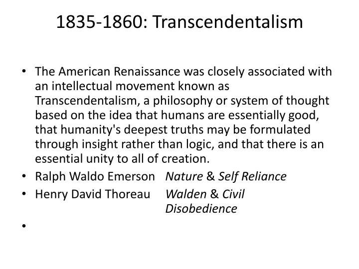 1835-1860: Transcendentalism